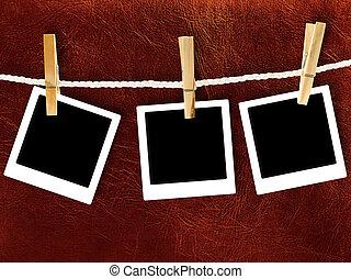 polaroidkamera, mot, gyllene, läder