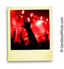 polaroidkamera, photo:, folkmassa, av, fläktar