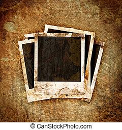 polaroidkamera, ram, på, grunge