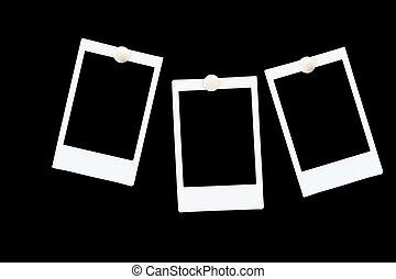 polaroids, 隔離された, 黒い背景, ブランク, フレーム