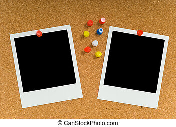 Polaroid or instant transfer photograph on corkboard with plastic pushpins, with clipping paths for image area