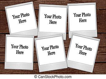Polaroids on Planks - Multiple Polaroid Film Blanks Sitting...