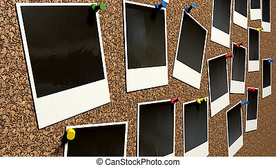 Polaroids Pinned On Cork Bulletin Board - A perspective view...