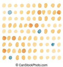 polca, amarillo, dots.