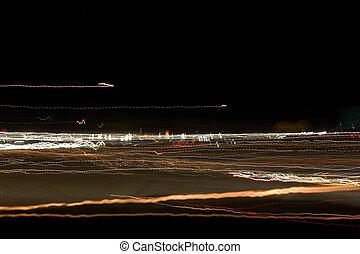pole, abstrakcyjny, światła, noc