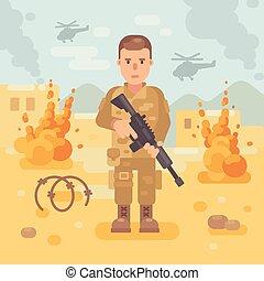 pole bitwy, illustration., płaski, scena, żołnierz, tło, karabin, wojna