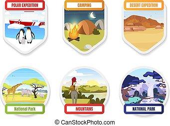 pole., camping, park., pack., hills., exloration, élément, plat, couleur dessin, hiking., national, graphique, antarctique, set., expédition, tourisme, sud, montagne, dessin animé, écusson, vecteur, trekking, autocollant, isolé