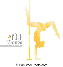 pole dance illustration - vector watercolor silhouette of...