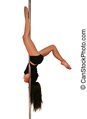Pole dance - Young woman exercising pole dance fitness