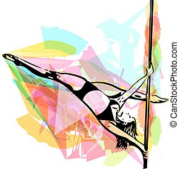 Pole dance woman illustration - Young pole dance woman...