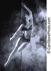 Pole Dance Woman - young sexy pole dance woman, dark...