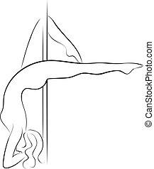 Pole dancer woman silhouette.