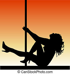Pole dancer - Silhouette of a pole dancer