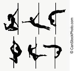 Pole dancer female silhouettes