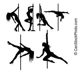 Pole dancer sexy female silhouettes