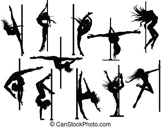 Pole dancer silhouettes. Vector set