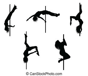 Pole dancer - Vector eps 8 of 5 pole dancers silhouettes ...