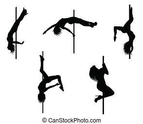 Pole dancer - Vector eps 8 of 5 pole dancers silhouettes...