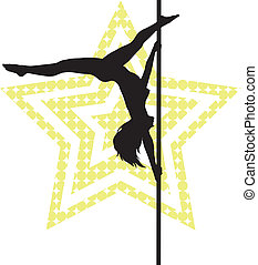 Pole dancer woman on star background. Vector silhouette