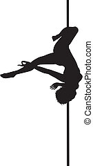 Pole dancer woman vector silhouette. Separate layers