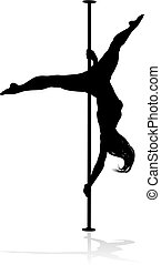 Pole Dancing Woman Silhouette