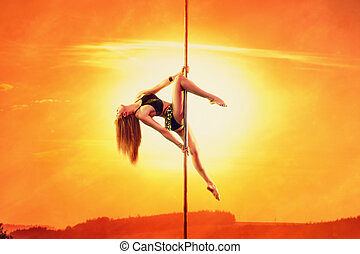 Pole dancing woman