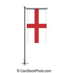 pole., drapeau, angleterre, pendre