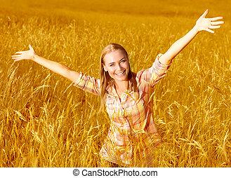 pole, dziewczyna, pszenica, radosny