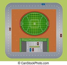 pole, górny, piłka nożna, prospekt