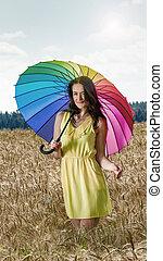 pole, kobieta, parasol