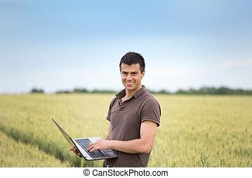 pole, laptop, pszenica, rolnik