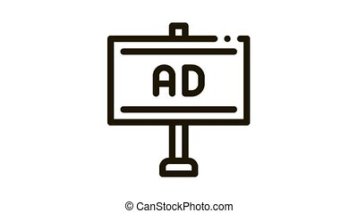 pole-mounted billboard Icon Animation. black pole-mounted billboard animated icon on white background
