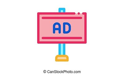 pole-mounted billboard Icon Animation. color pole-mounted billboard animated icon on white background