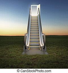 pole, niebo, eskalator, noc