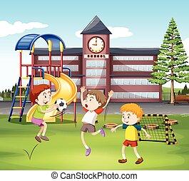 pole, piłka nożna, interpretacja, trzy, chłopcy