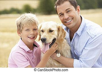 pole, posiedzenie, słoma, ojciec, pies, syn, zebrane żniwa,...