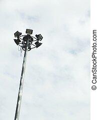 pole spotlight on blue sky background pole spotlight in garden for light in night time
