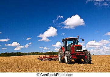 pole, traktor, zaorany