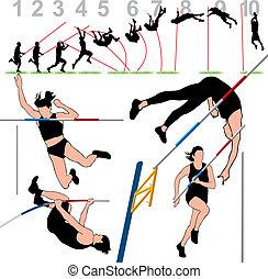 Pole Vault Athletes Set