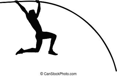 pole vault male athlete jump on competition