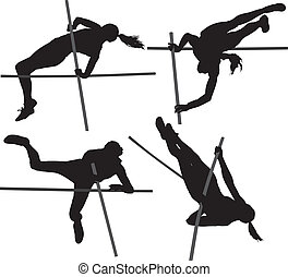 Pole Vault Silhouette on white background