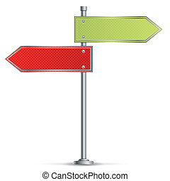 Pole with Road Signs - Pole with Blank Red and Green Road...