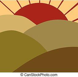 pole, wschód słońca
