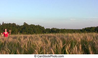 pole, wyścigi, kobieta, pszenica