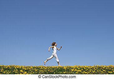 pole, wyścigi, szczęśliwy, dziewczyna, mniszek lekarski