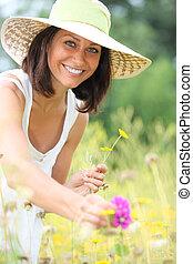 pole, zrywanie, kobieta, kwiaty