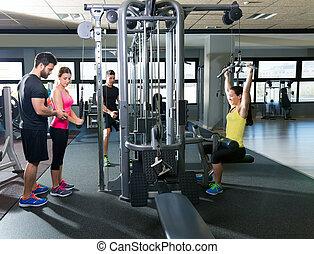 polea, cable, gente, gimnasio, Sistema, condición física,...