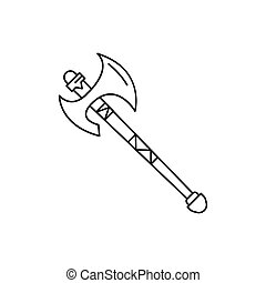 Poleaxe icon, outline style