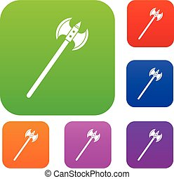 Poleaxe set color collection - Poleaxe set icon color in...