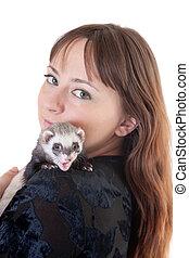 Polecat on a shoulder